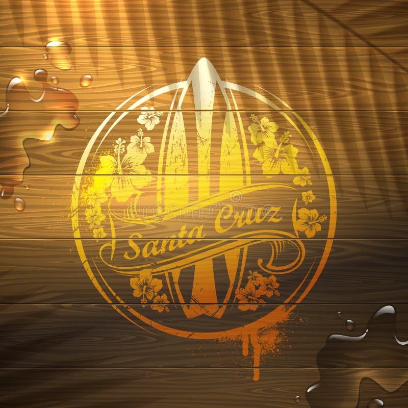 Эмблема прибоя на деревянной поверхности бесплатная иллюстрация