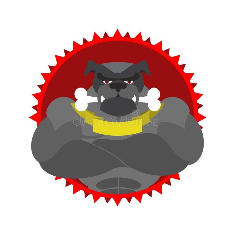 Эмблема сердитой собаки круглая Большой культурист бульдога с косточкой Vec иллюстрация вектора