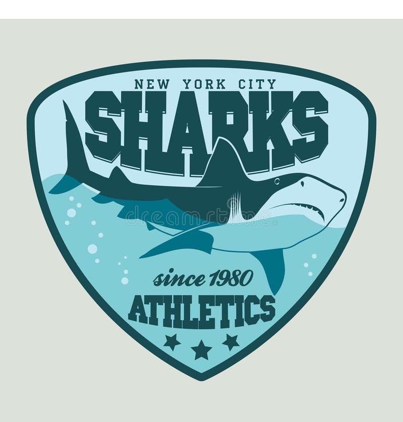 Эмблема спорта акулы иллюстрация вектора