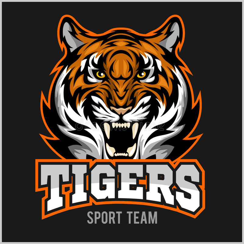Эмблема спорта стороны тигра вектора сердитая бесплатная иллюстрация