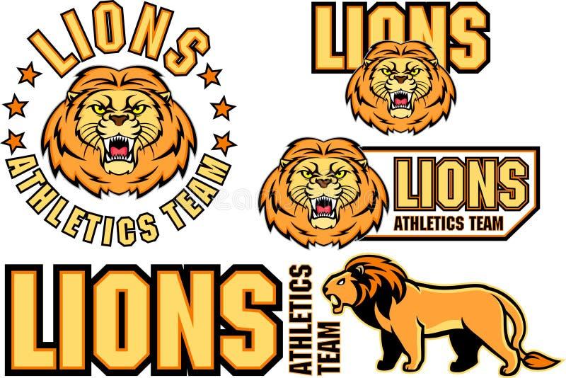 Эмблема спорта стороны льва вектора сердитая иллюстрация вектора