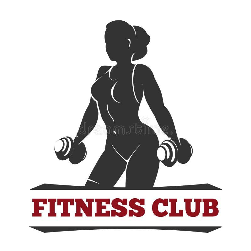 Эмблема фитнес-клуба с женщиной тренировки иллюстрация штока