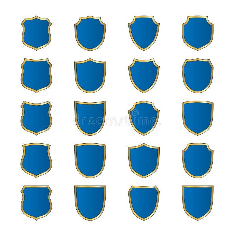 Эмблема формы золота экрана голубыми установленная значками бесплатная иллюстрация