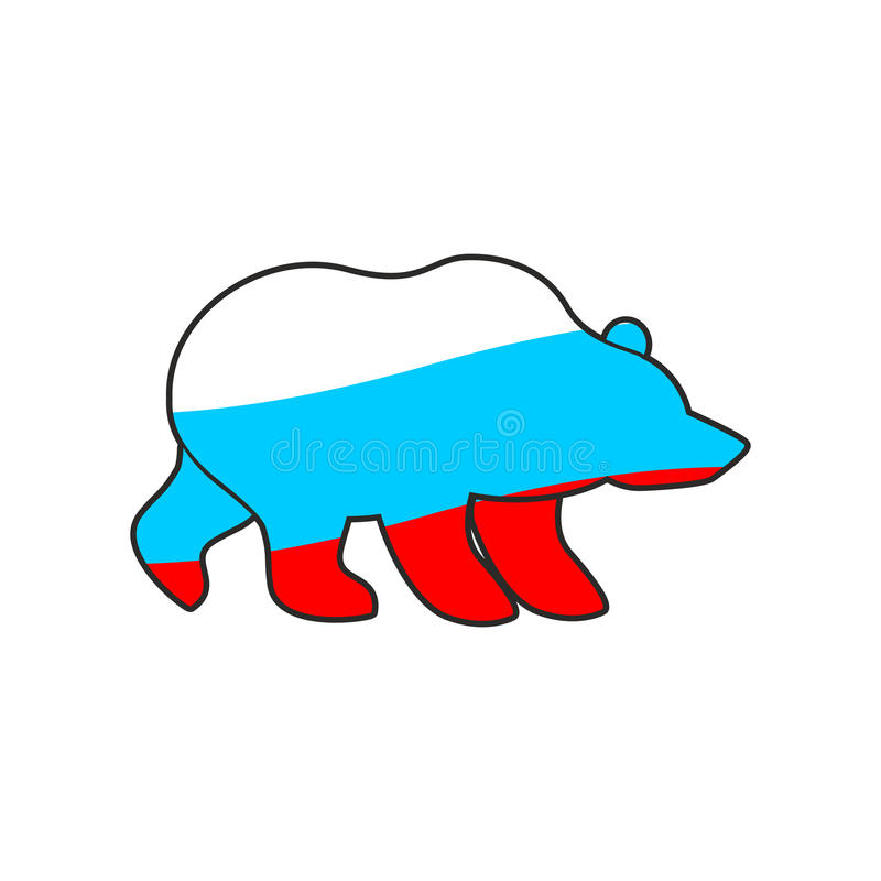 Эмблема флага России медведя Национальный традиционный русский хищник иллюстрация штока