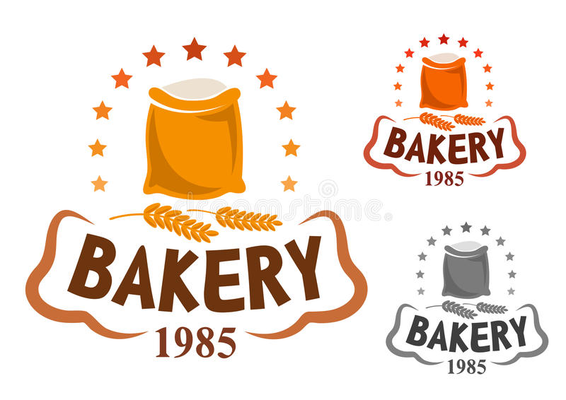 Эмблема хлебопекарни с ушами муки и пшеницы иллюстрация вектора