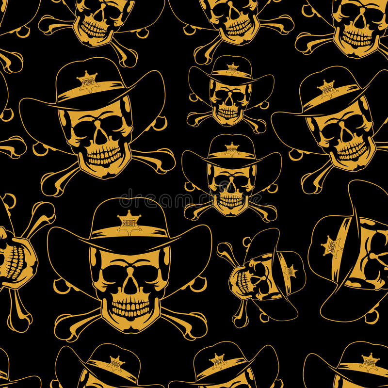 Эмблема черепа в шляпе ковбоев безшовной иллюстрация штока