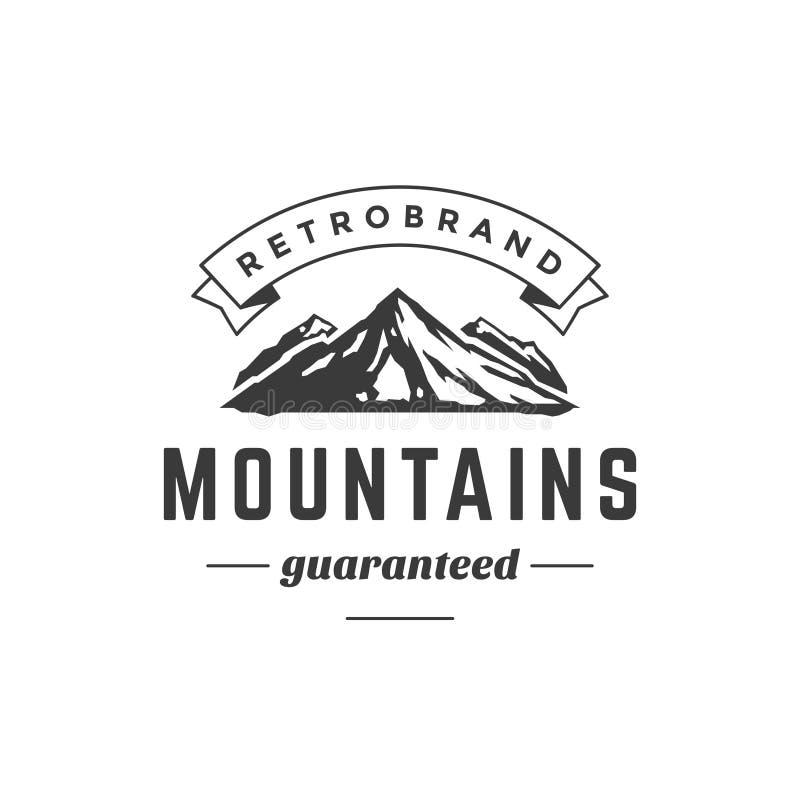 Эмблема шаблона логотипа горы винтажная высокий утес бесплатная иллюстрация
