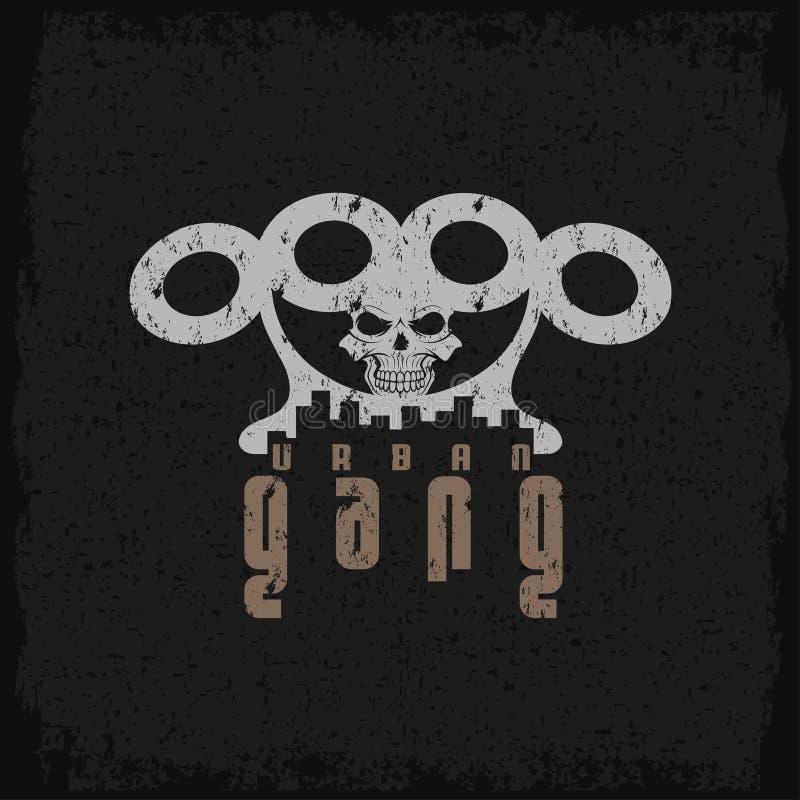 Эмблема grunge шатии с латунными костяшками и черепом иллюстрация вектора