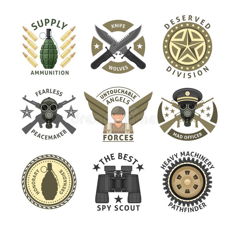Эмблемы военных частей иллюстрация штока