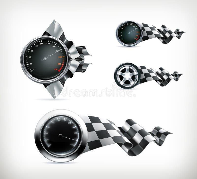 Эмблемы гонок иллюстрация вектора