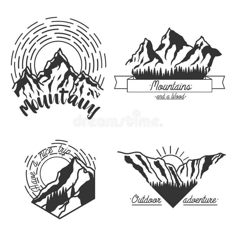 Эмблемы гор черные бесплатная иллюстрация