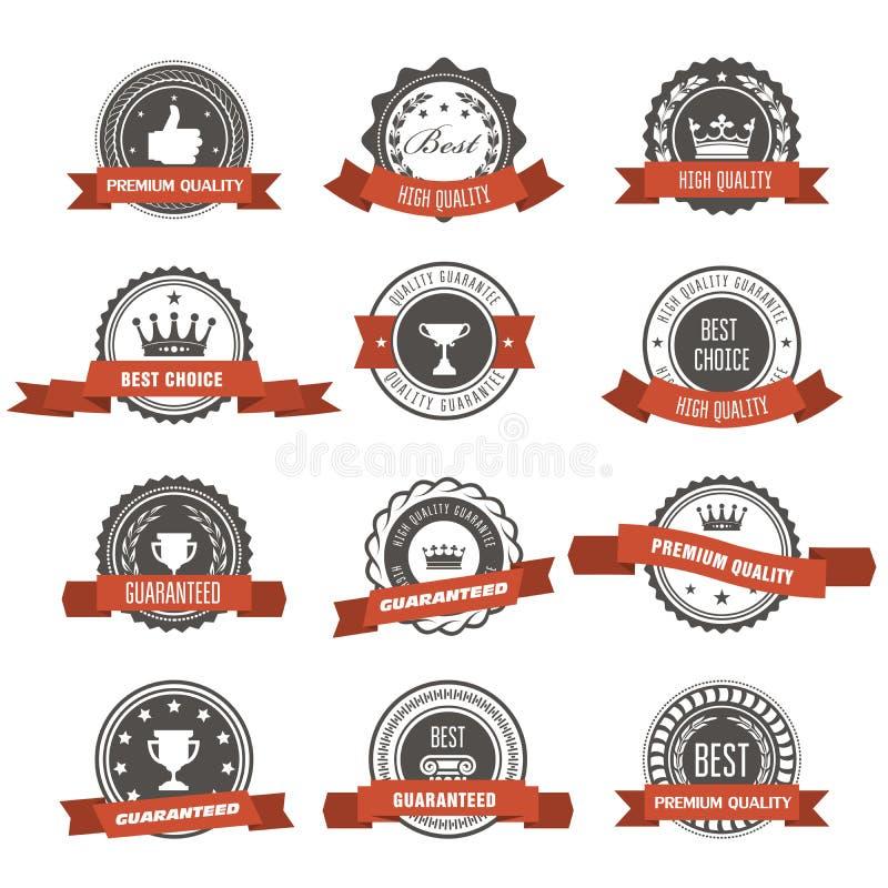 Эмблемы, значки и штемпеля с лентами - награды и уплотнения иллюстрация вектора