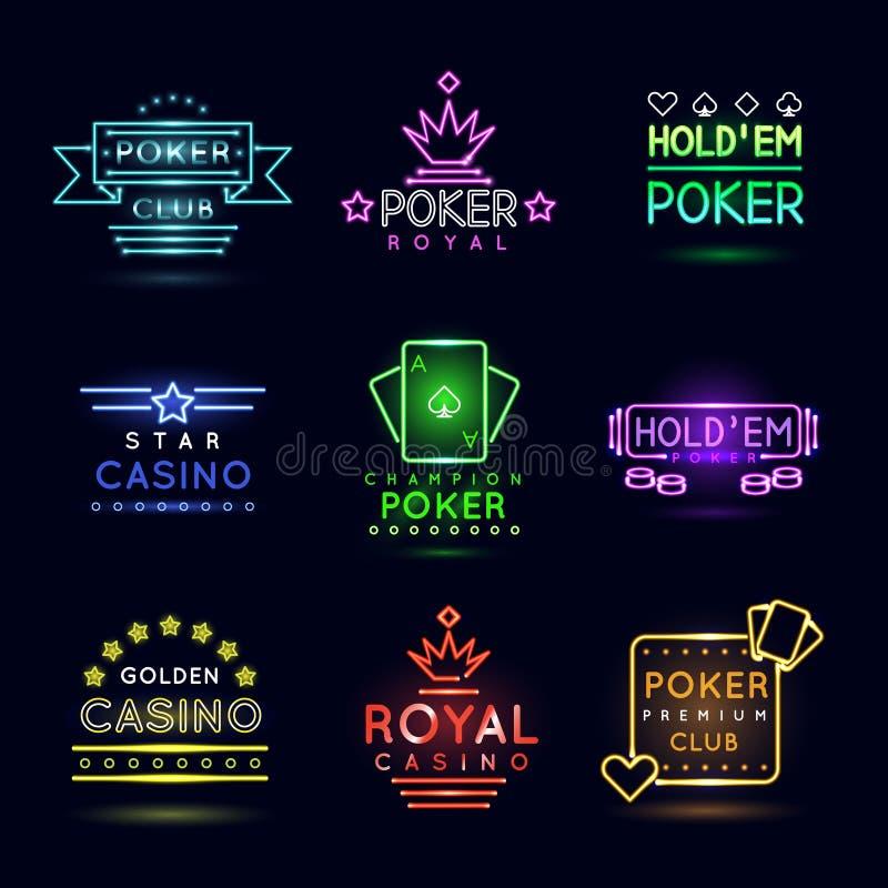 Эмблемы неонового света играя в азартные игры Клуб покера и комплект знака вектора казино бесплатная иллюстрация