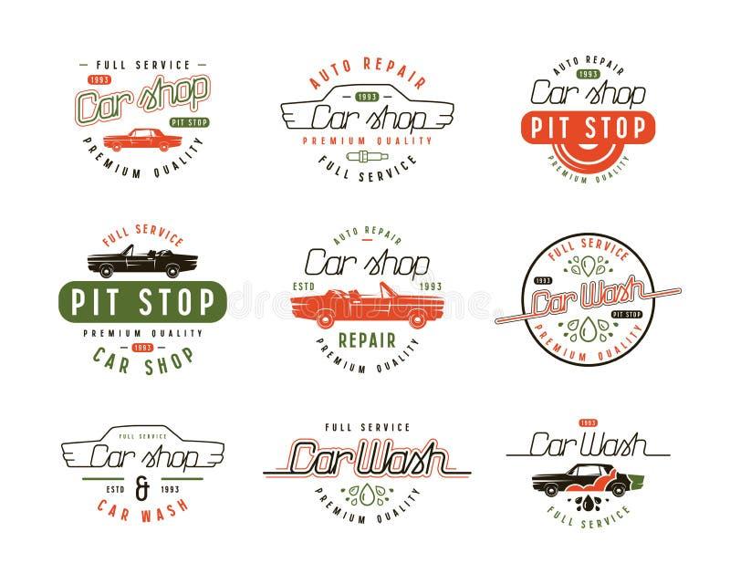Эмблемы обслуживания автомобиля иллюстрация штока