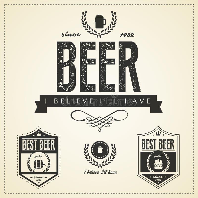 Эмблемы пива и ярлыки - винтажный стиль бесплатная иллюстрация