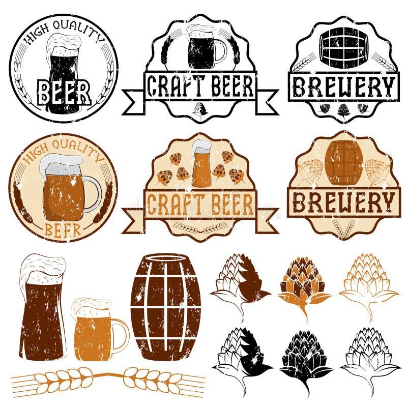 Эмблемы пива Grunge иллюстрация штока