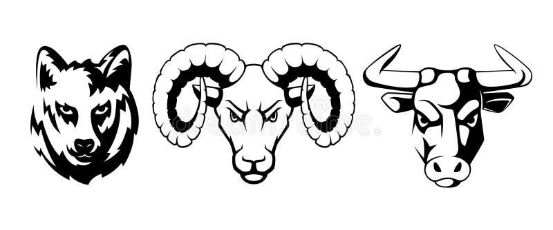 Эмблемы спорта установленные с различными животными Волк, штоссель и быки Иллюстрации вектора для ярлыков иллюстрация штока