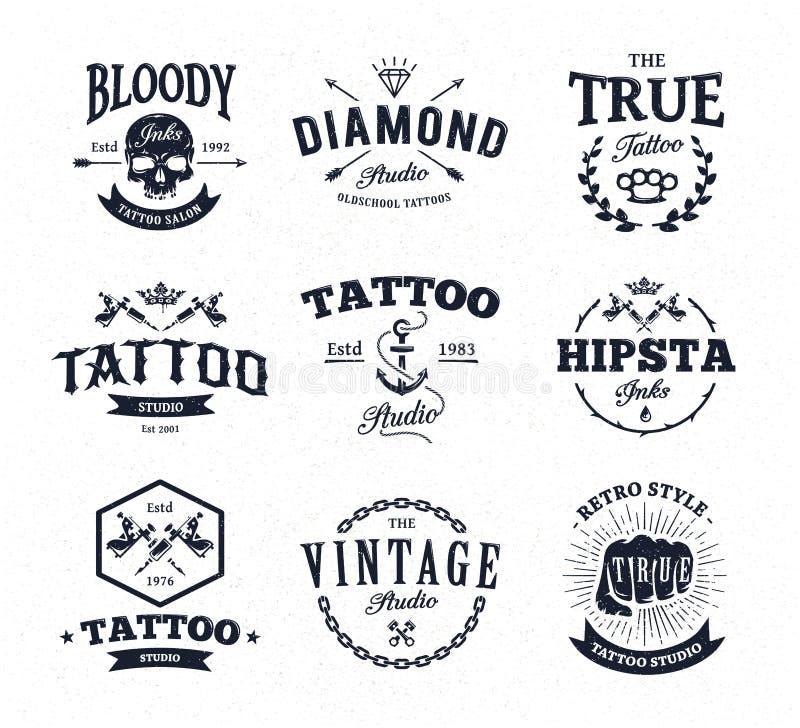 Эмблемы студии татуировки иллюстрация штока