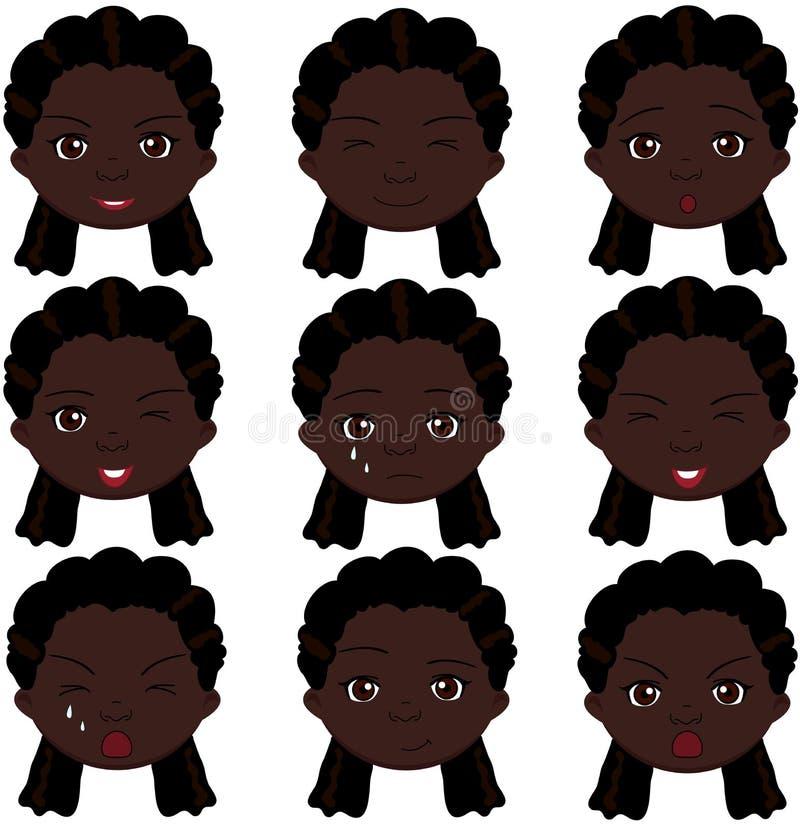 Эмоции девушки Афро: утеха, сюрприз, страх, тоскливость, скорба, плача бесплатная иллюстрация