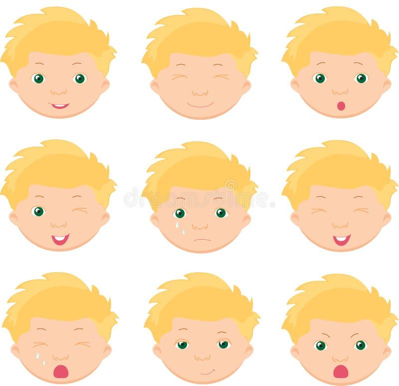 Эмоции мальчика: утеха, сюрприз, страх, тоскливость, скорба, плача, laug бесплатная иллюстрация