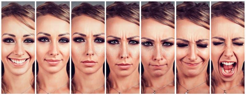 Эмоции молодой женщины изменяя от быть счастливый к получать осадку и сердитое кричащее стоковые фото
