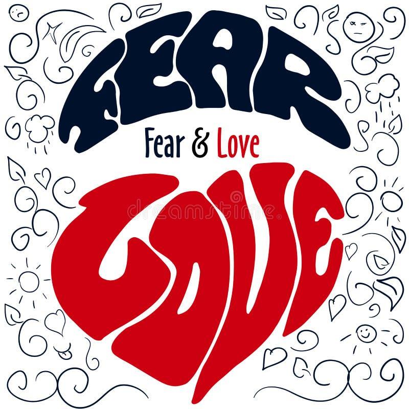 Эмоции нарисованные рукой помечая буквами страх и влюбленность бесплатная иллюстрация