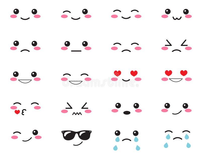 Эмоции японца установленные Установленные японские улыбки Kawaii смотрит на на белой предпосылке Милый стиль аниме эмоций собрани иллюстрация вектора