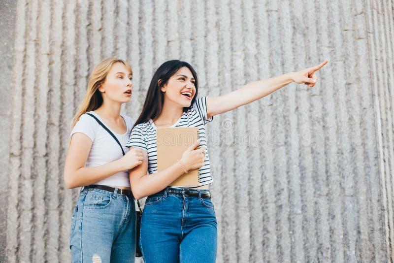 Эмоциональные подруги указывают к расстоянию с сюрпризом на их сторонах стоковое фото