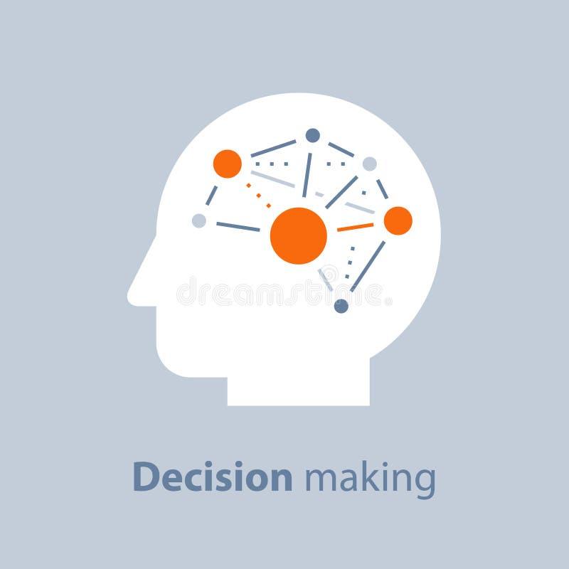 Эмоциональный разум, процесс принятия решений, положительный склад ума, психология и неврология, наука поведения, творческий дума иллюстрация штока