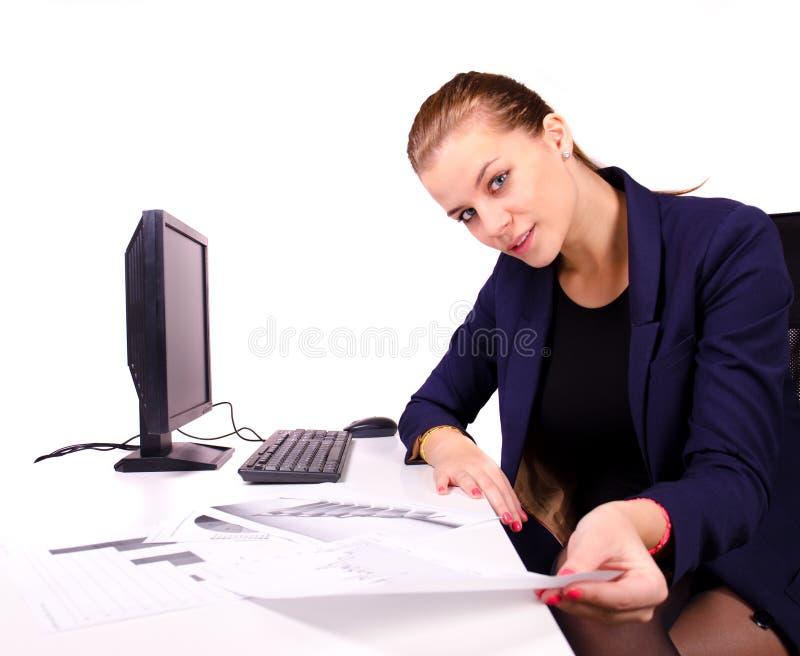 Эмоциональная бизнес-леди стоковая фотография
