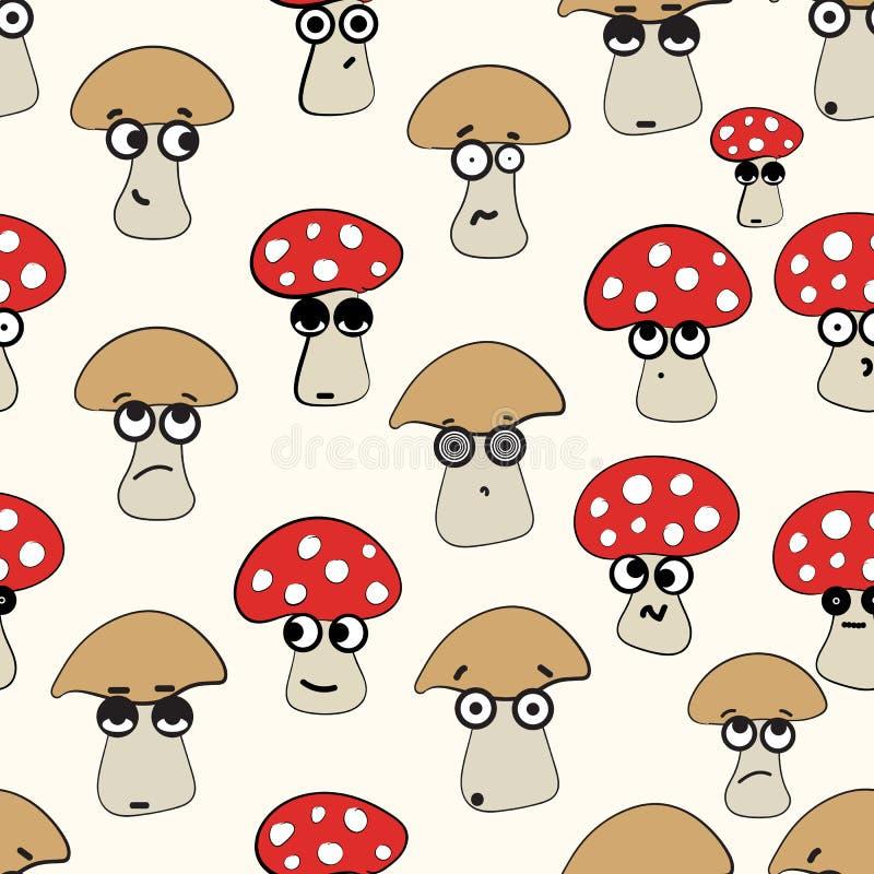 Эмоциональные безшовные грибы иллюстрация вектора