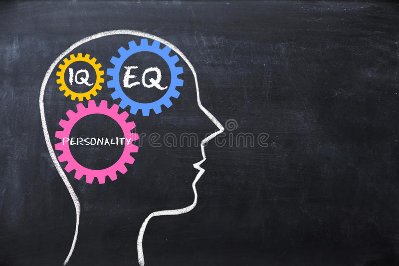 Эмоциональные коэффициент и показатель умственных способностей EQ и концепция IQ с формой и шестернями человеческого мозга стоковая фотография