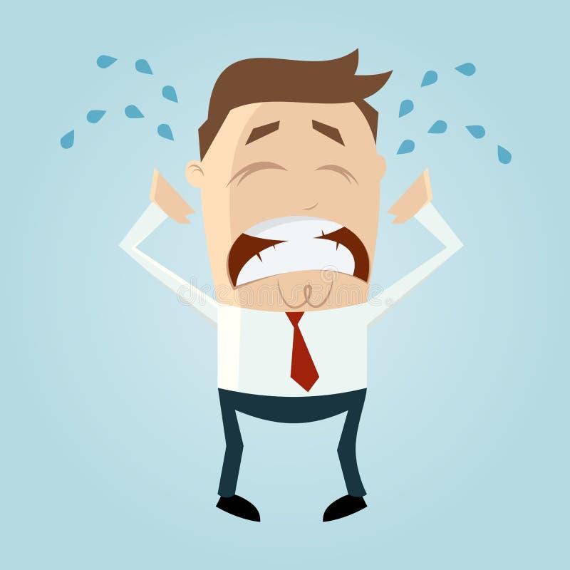 Унылый плача человек шаржа иллюстрация вектора