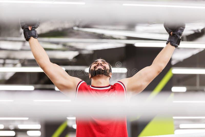 Эмоция победы бокса стоковые фотографии rf