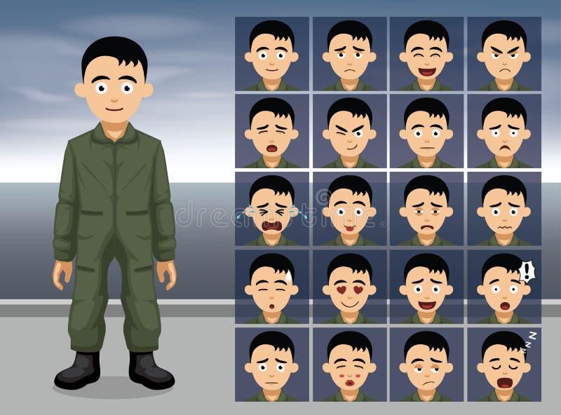 Эмоция шаржа военновоздушной силы пилотная смотрит на иллюстрацию вектора бесплатная иллюстрация