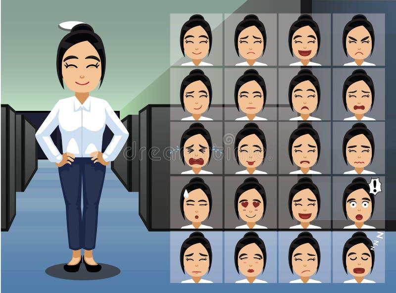 Эмоция шаржа женщины дела азиатская смотрит на иллюстрацию вектора иллюстрация вектора