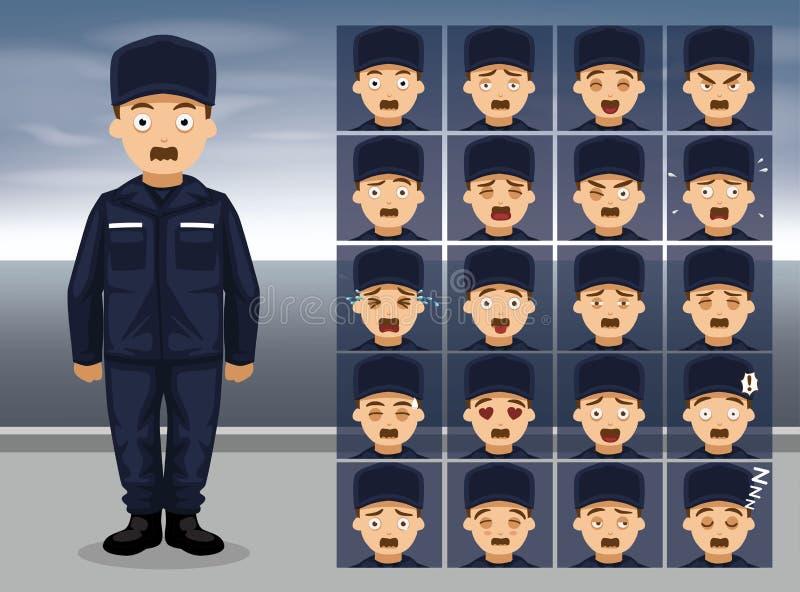 Эмоция шаржа службы береговой охраны общего назначения смотрит на иллюстрацию вектора иллюстрация штока