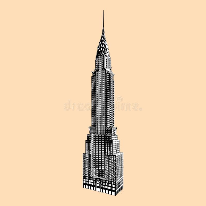 Эмпайр Стейт Билдинг Нью-Йорка известный иллюстрация штока