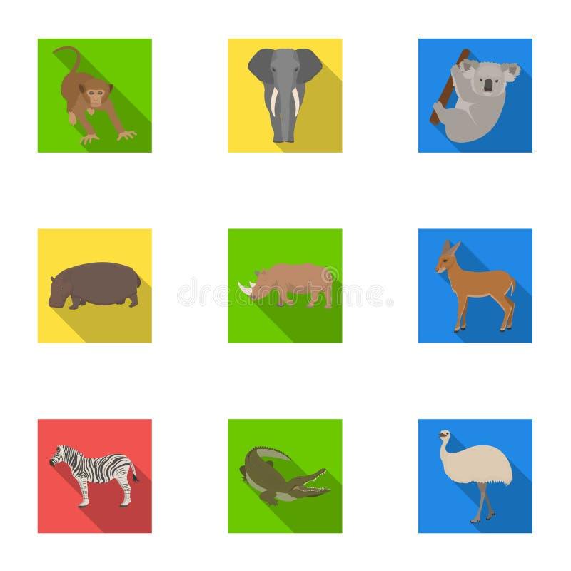 Эму страуса, крокодил, жираф, тигр, пингвин и другие дикие животные Artiodactyla, относящийся к млекопитающим хищники и животные бесплатная иллюстрация