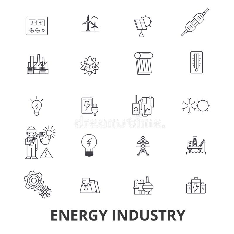 Энергетическая промышленность, нефть и газ, эффективность, сбережения, зеленая энергия, гидроэлектрическая линия значки Editable  иллюстрация вектора