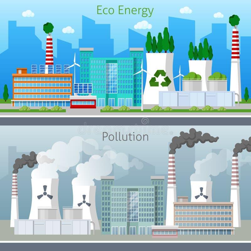 Энергия зеленого цвета фабрики Eco и городской пейзаж загрязнения воздуха иллюстрация штока