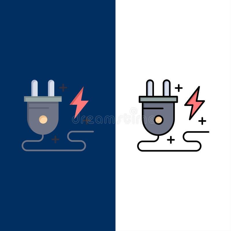 Энергия, штепсельная вилка, сила, значки природы Квартира и линия заполненный значок установили предпосылку вектора голубую иллюстрация вектора