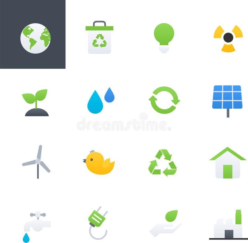 Энергия Eco и установленные значки, дизайн окружающей среды красочные иллюстрации вектора иллюстрация штока