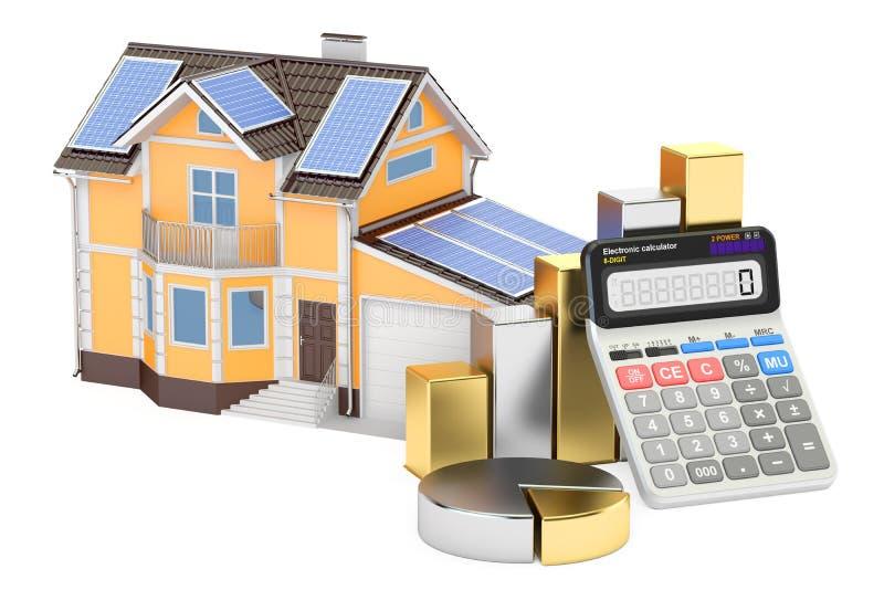 Энергопотребление для дома, эффективность сбережений от панели солнечных батарей иллюстрация штока
