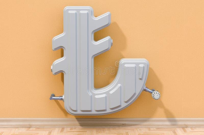 Энергосберегающая концепция Нагревая радиатор внутри сформированный лиры r иллюстрация штока