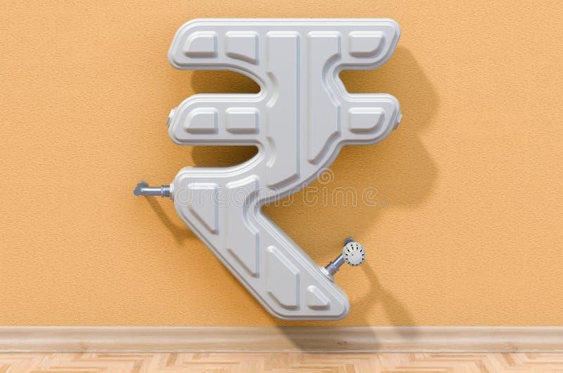 Энергосберегающая концепция Нагревая радиатор внутри сформированный рупии r иллюстрация штока