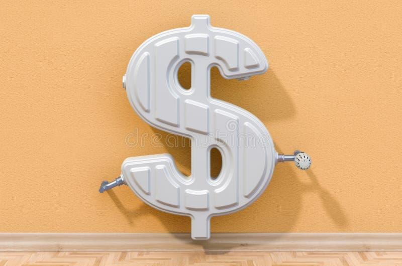 Энергосберегающая концепция Нагревая радиатор в сформированный знака доллара r бесплатная иллюстрация