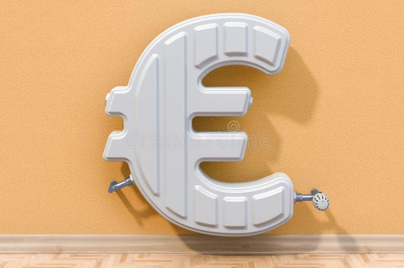 Энергосберегающая концепция Радиатор топления в сформированный символа евро r иллюстрация штока