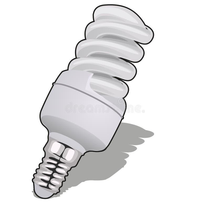 Энергосберегающая электрическая лампочка изолированная на белой предпосылке Иллюстрация конца-вверх шаржа вектора иллюстрация вектора