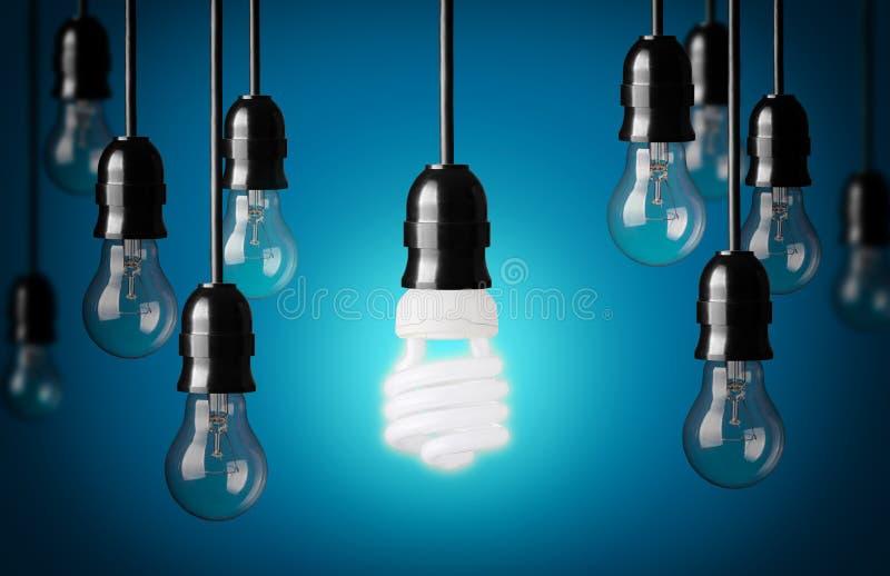 Энергосберегающие и простые электрические лампочки стоковое изображение rf